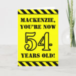 [ Thumbnail: 54th Birthday: Fun Stencil Style Text, Custom Name Card ]