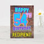 [ Thumbnail: 54th Birthday - Fun, Urban Graffiti Inspired Look Card ]
