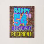 [ Thumbnail: 54th Birthday ~ Fun, Urban Graffiti Inspired Look Jigsaw Puzzle ]