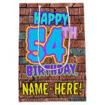 [ Thumbnail: 54th Birthday: Fun, Urban Graffiti Inspired Look Gift Bag ]