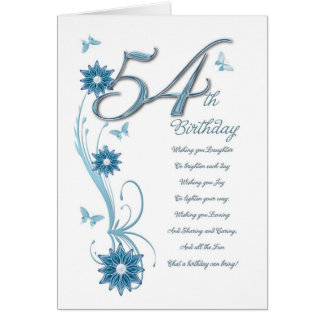 54th birthday in teal with flowers and butterfly card