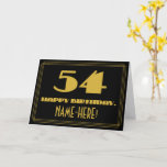 "[ Thumbnail: 54th Birthday: Name + Art Deco Inspired Look ""54"" Card ]"