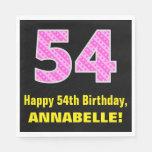 "[ Thumbnail: 54th Birthday: Pink Stripes and Hearts ""54"" + Name Napkins ]"