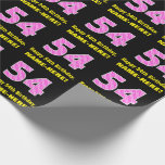 """[ Thumbnail: 54th Birthday: Pink Stripes and Hearts """"54"""" + Name Wrapping Paper ]"""