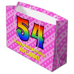 [ Thumbnail: 54th Birthday: Pink Stripes & Hearts, Rainbow # 54 Gift Bag ]