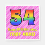 [ Thumbnail: 54th Birthday: Pink Stripes & Hearts, Rainbow # 54 Napkins ]