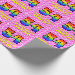 [ Thumbnail: 54th Birthday: Pink Stripes & Hearts, Rainbow # 54 Wrapping Paper ]