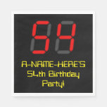 "[ Thumbnail: 54th Birthday: Red Digital Clock Style ""54"" + Name Napkins ]"