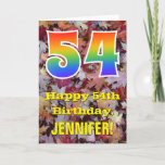 "[ Thumbnail: 54th Birthday; Rustic Autumn Leaves; Rainbow ""54"" Card ]"