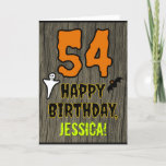 [ Thumbnail: 54th Birthday: Spooky Halloween Theme, Custom Name Card ]