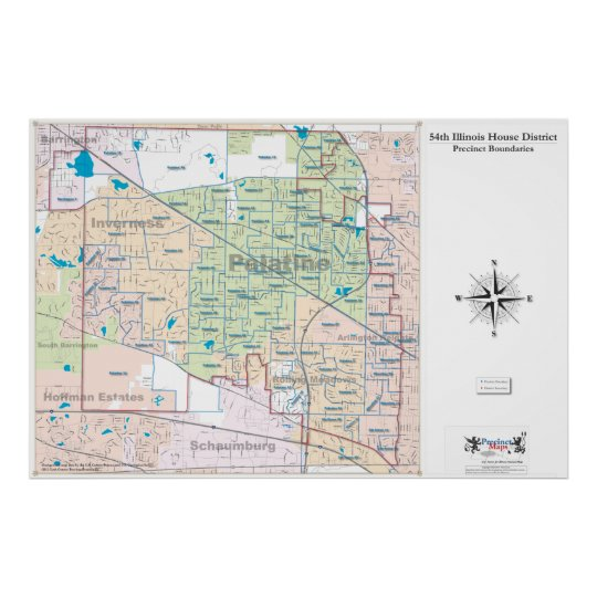 54th Illinois House District - Detailed Line Map Poster