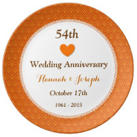 54th Wedding Anniversary Orange And Gold A54a