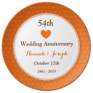 54th Wedding Anniversary Orange And Gold A54a Dinner Plate