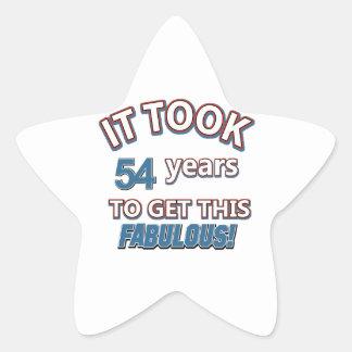 54th year birthday designs star sticker