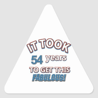 54th year birthday designs triangle sticker