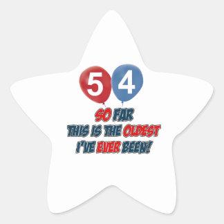 54th year old birthday gift star sticker