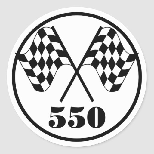 550 Checkered Flags Classic Round Sticker