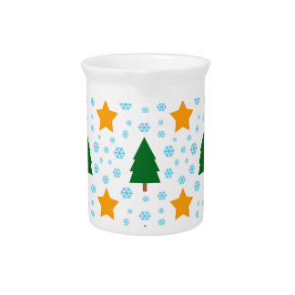 551 Cute Christmas tree and stars pattern.jpg Beverage Pitcher