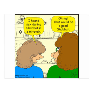 553 a good shabbat cartoon postcard