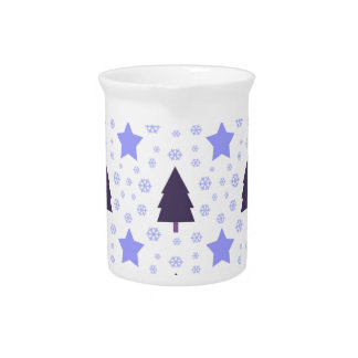 555 Cute Christmas tree and stars pattern.jpg Beverage Pitcher