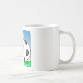 557 chick talking to soccer ball cartoon coffee mug