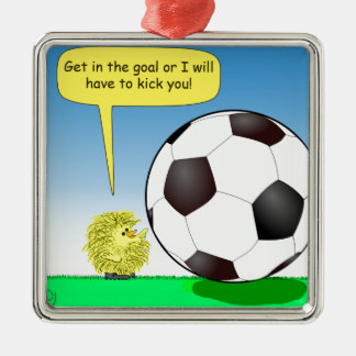 557 chick talking to soccer ball cartoon metal ornament