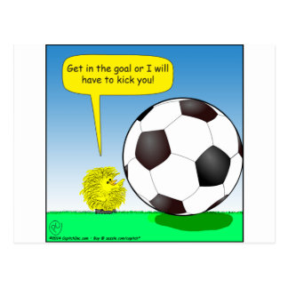 557 chick talking to soccer ball cartoon postcard