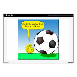 "557 chick talking to soccer ball cartoon skin for 17"" laptop"