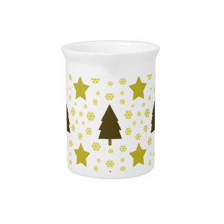 559 Cute Christmas tree and stars pattern.jpg Drink Pitcher