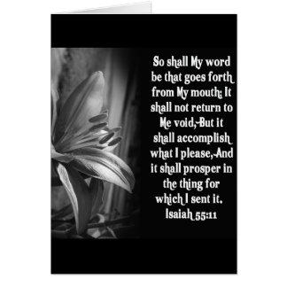 55:11 DE ISAÍAS DE LA ESCRITURA DE LA BIBLIA TARJETA DE FELICITACIÓN