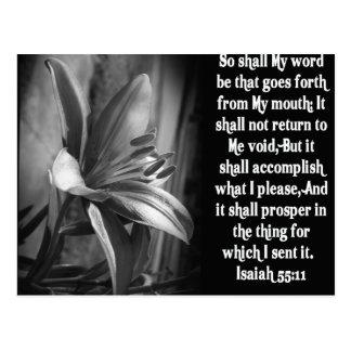 55:11 DE ISAÍAS DE LA ESCRITURA DE LA BIBLIA TARJETAS POSTALES
