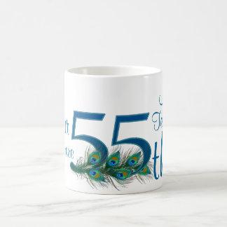 # 55 - 55.o aniversario de boda o 55.o cumpleaños taza básica blanca