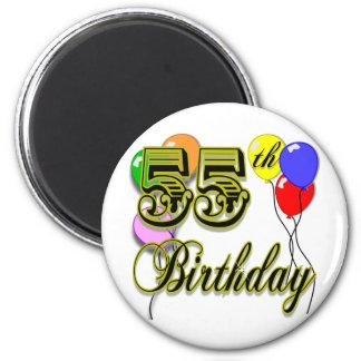 55.a celebración feliz del cumpleaños imán redondo 5 cm