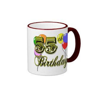 55.a celebración feliz del cumpleaños taza a dos colores