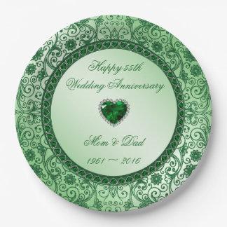 55.a placa de papel elegante del aniversario de platos de papel