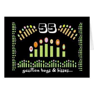 ¡55 abrazos y besos - 55.o cumpleaños feliz de tarjeta de felicitación