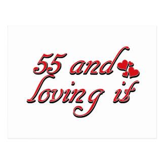 55 and loving it postcard