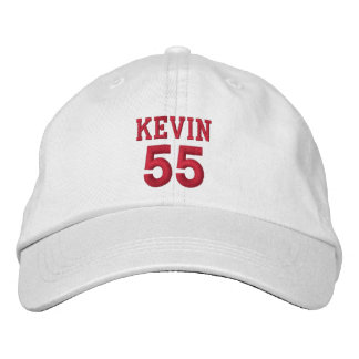 55 Birthday Custom Name Red Embroidery V12 Embroidered Baseball Caps