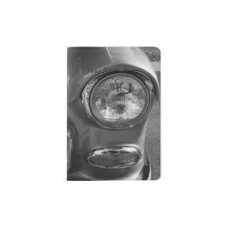 55 Chevy Headlight Grayscale Passport Holder