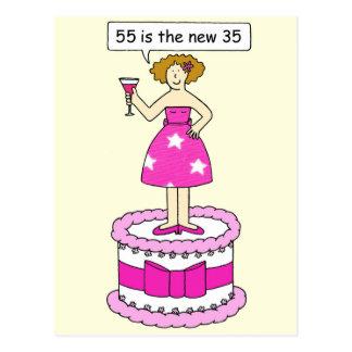 55 es el nuevo humor de la edad de 35 cumpleaños tarjetas postales