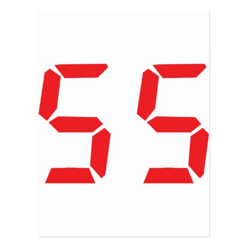 55 fifty-fife red alarm clock digital number postcard