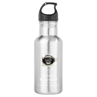 [55] Keep Calm or Honey Badger… 18oz Water Bottle