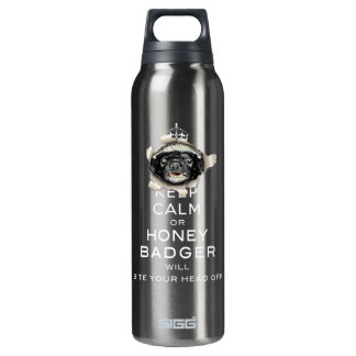 [55] Keep Calm or Honey Badger… 16 Oz Insulated SIGG Thermos Water Bottle