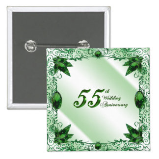 55.o Botón del aniversario de boda Pin Cuadrado