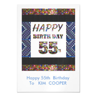 55.o cambio del cumpleaños o msg felices 55 del invitaciones magnéticas