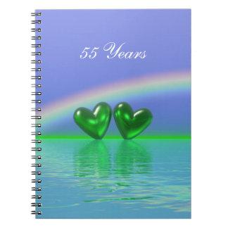 55.o Corazones de la esmeralda del aniversario Libros De Apuntes Con Espiral