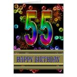 55.o Cumpleaños con las burbujas y los fuegos arti Tarjetón