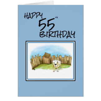 55.o cumpleaños feliz con el perro del dibujo tarjeta de felicitación