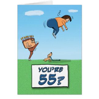 55.o Cumpleaños: Un retroceso con el pie adentro Tarjeta De Felicitación