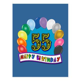 55.o Diseño de los globos del cumpleaños Postal